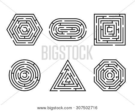 Labyrinth Different Shapes Game And Maze Fun Puzzle Set Isolated On White Background. Maze Square, R