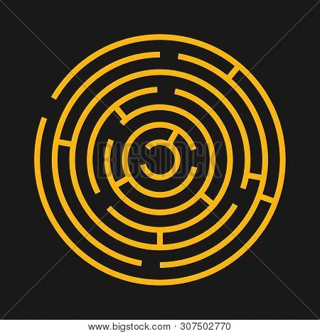 Round Labyrinth Maze Game. Maze Circle Fun Puzzle Isolated On Black Background. Puzzle Riddle Logic