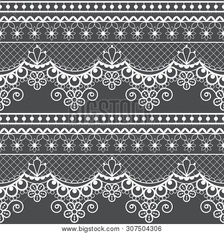 Wedding lace French or English seamless pattern set, white ornamental repetitive design with flowers - textile design poster