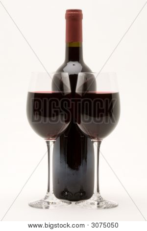 Red Wine Bottle With Two Glasses Of Red Wine