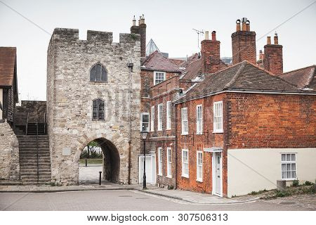 Southampton Street View With Tower Of Southampton Town Walls, It Is A Sequence Of Defensive Structur