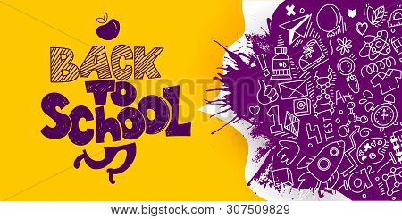 Back To School Banner With Line Art Icons Of Education, Science. Vector Hand Drawn Doodle Style Illu