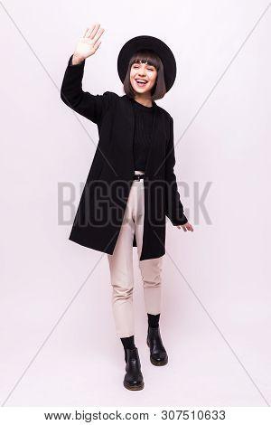 Full Length View Of Smiling Boho Girl In Boater Waving Hand Isolated On White