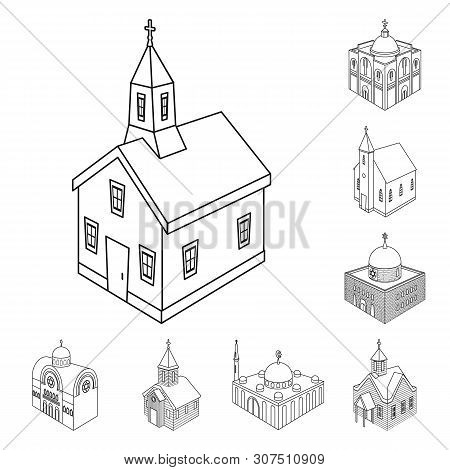 Vector Illustration Of Architecture And Building Symbol. Collection Of Architecture And Clergy Stock