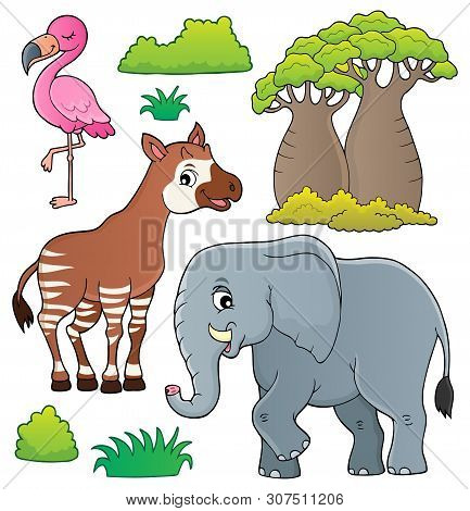 African Nature Theme Set 4 - Eps10 Vector Picture Illustration.
