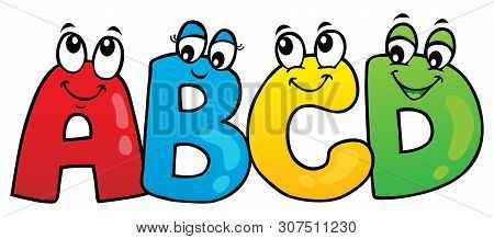 Cartoon Abcd Letters Theme 1 - Eps10 Vector Picture Illustration.