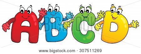 Cartoon Abcd Letters Theme 3 - Eps10 Vector Picture Illustration.