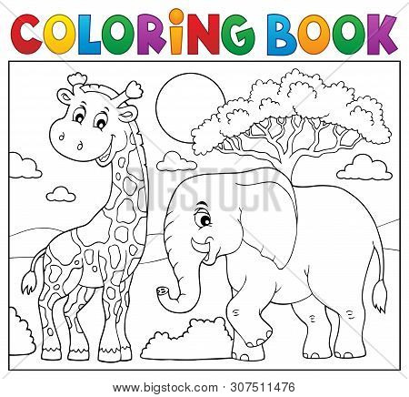 Coloring Book African Nature Topic 8 - Eps10 Vector Picture Illustration.