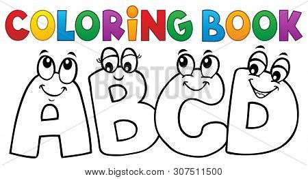 Coloring Book Cartoon Abcd Letters 1 - Eps10 Vector Picture Illustration.