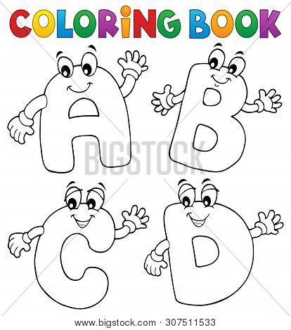 Coloring Book Cartoon Abcd Letters 2 - Eps10 Vector Picture Illustration.