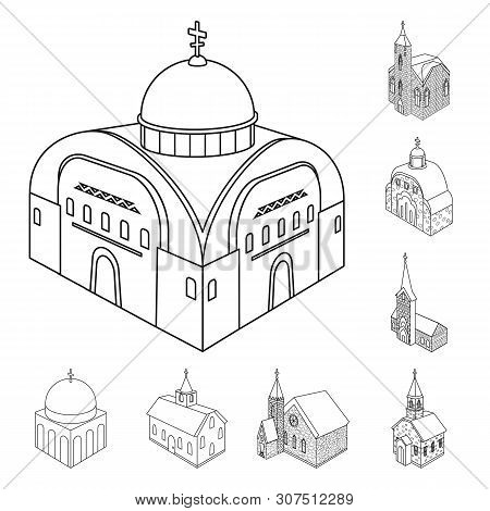 Vector Illustration Of Architecture And Building Sign. Set Of Architecture And Clergy Stock Vector I