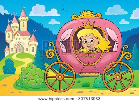 Princess In Carriage Theme Image 2 - Eps10 Vector Picture Illustration.