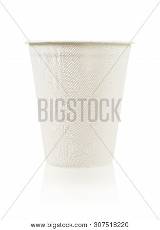 Glass Of Water Made From Bagasse Isolate On White Background, Save Clipping Path.