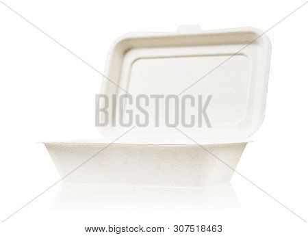 Bagasse Box For Food Isolated On White Background, Saved Clipping Path. It Is Made From Nature Go Gr
