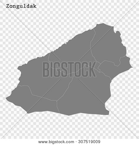 High Quality Map Of Zonguldak Is A Province Of Turkey, With Borders Of The Districts