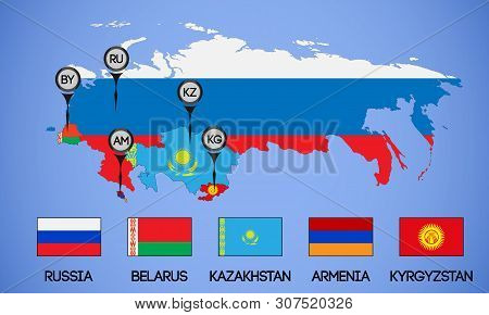 Vector Schematic Map Of The Member States Of The Eurasian Economic Union. Flags And Abbreviations Ru