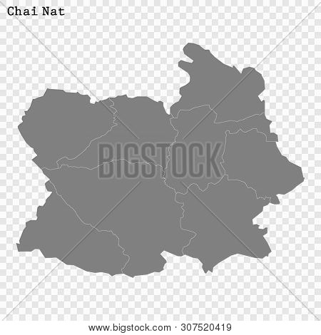 High Quality Map Of Chai Nat Is A Province Of Thailand, With Borders Of The Districts