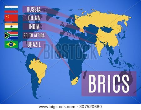 Schematic Vector Map Of The States Members Of The Brics (brazil, Russia, India, China, South Africa)