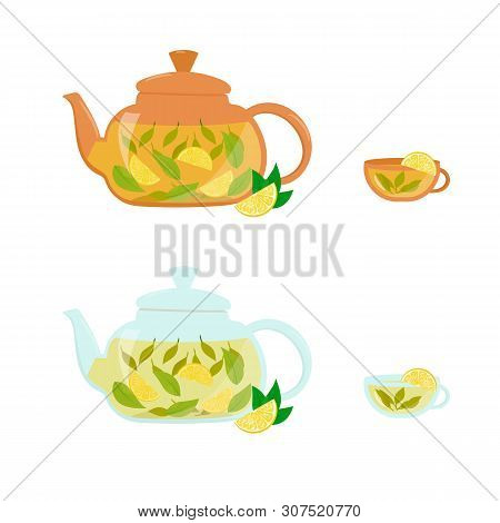 Vector Collection Of The Teapots And Cups. Isolated Set Of Teapots, Cups, Limons.