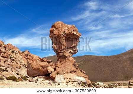 Rock Formation Called Copa Del Mondo Or World Cup In The Bolivean Altiplano - Potosi Department, Bol