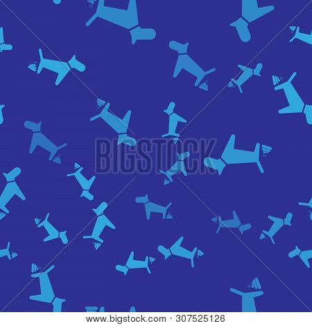 Blue Dog Pooping Icon Isolated Seamless Pattern On Blue Background. Dog Goes To The Toilet. Dog Defe
