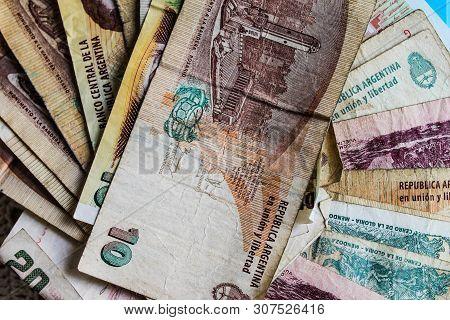 Argentinian Pesos Argentine Closeup Background Backdrop Detail