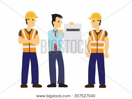Insurance Agen Briefs Work Insurance To Construction Workers. Concept Of Work Safety And Insurance.