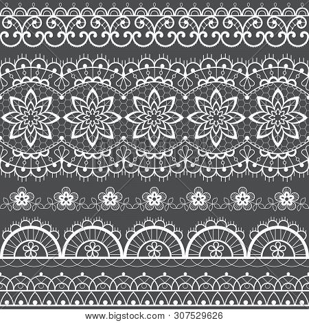 French or English lace seamless pattern set, white ornamental repetitive design with flowers - textile design poster