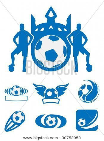 Football and soccer symbols, crests and emblems for sports design.