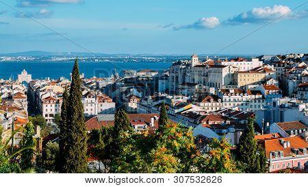 Lisbon, Portugal Overlooking Baixa Neighbourhood With Major Landmarks Visible