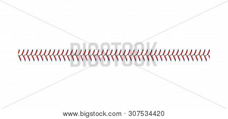 Baseball And Softball Lace Stitch Isolated On White Background, Straight Line Of Sport Ball Seam Wit