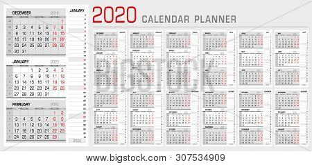 Calendar Planner Template 2020. Week Start From Monday. 3 Month Calendar On Page, With Flush Right S