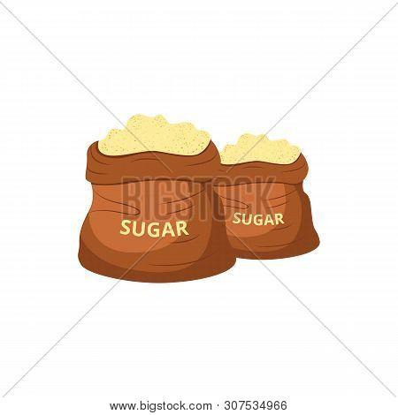 Brown Jute Sugar Bags Filled With Sweet Yellow Powder
