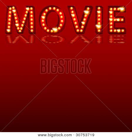 An image of a theatrical lights 3D movie text.