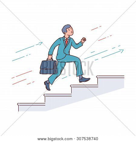 Businessman Running Up Stairway, Career Growth Sketch Vector Illustration Isolated.