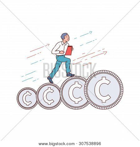 Businessman Running Up On A Stairway Of Coins Sketch Vector Illustration Isolated.