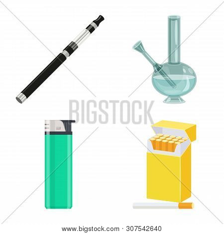 Isolated Object Of Cigarette And Tobacco Icon. Collection Of Cigarette And Nicotine Vector Icon For