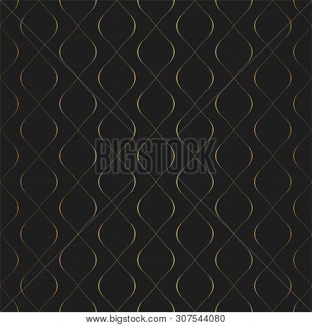 Golden Texture. Seamless Geometric Circular Elements Pattern. Golden Wavy Lines Background. Vector S