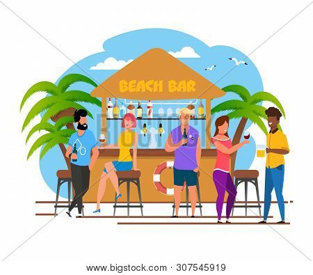 Tourists Group Having Rest At Beach Bar Cartoon. Vacation In Southern Country. Relaxing With Alcohol
