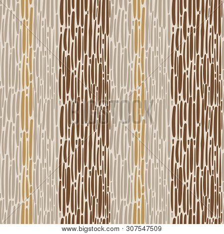 Hand Drawn Striped Weave Design In Brown, Caramel And Sandstone Colours. Seamless Vector Pattern On