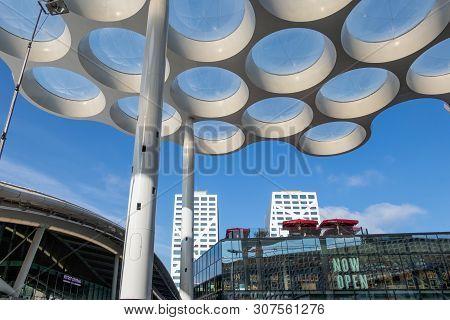 Utrecht, The Netherlands - May 15, 2018: Modern Roof With Circle Glass Windows Over Passage Near Rai