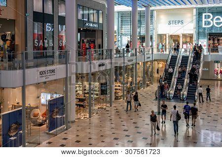 Utrecht, The Netherlands - July 05, 2018: Interior Modern New Shopping Centre Hoog Catharijne With E