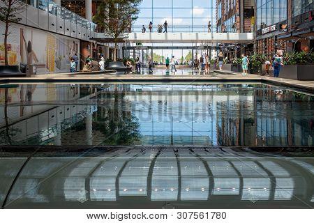 Utrecht, The Netherlands - July 05, 2018: Interior Modern New Shopping Centre Hoog Catharijne With P