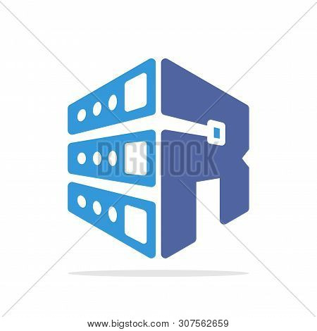 Initial Logo Icon For Web Hosting Business With Initial Details Of Letter