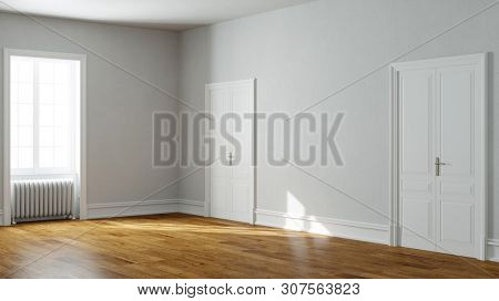 Bright empty room in old apartment as a passage room (3d rendering)
