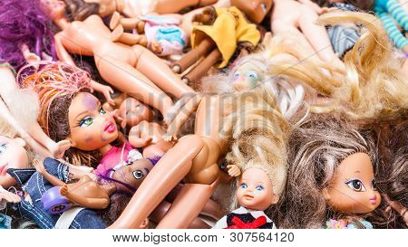Moscow, Russia - June 17, 2019: Panoramic View Of Various Abandoned Fashion Dolls ( Barbie, Ken, She