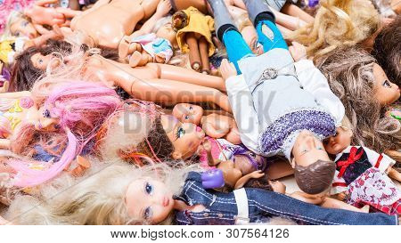 Moscow, Russia - June 17, 2019: Panoramic View Of Many Old Fashion Dolls ( Barbie, Ken, Shelly, Chel