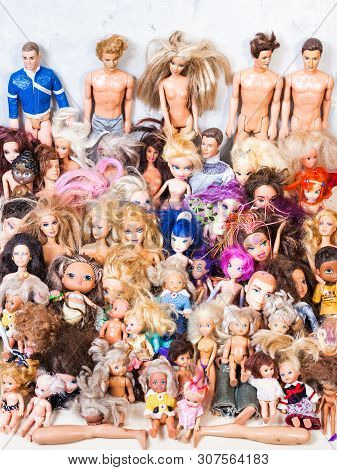 Moscow, Russia - June 17, 2019: Various Broken And Used Fashion Dolls ( Barbie, Ken, Shelly, Chelsea