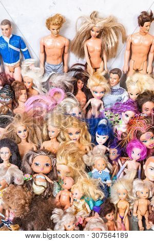 Moscow, Russia - June 17, 2019: Collection Of Old Used Fashion Dolls ( Barbie, Ken, Shelly, Chelsea,