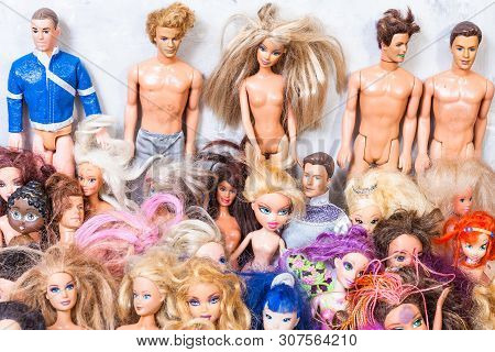 Moscow, Russia - June 17, 2019: Set Of Old Used Fashion Dolls ( Barbie, Ken, Shelly, Chelsea, Kelly,